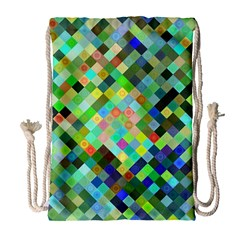 Pixel Pattern A Completely Seamless Background Design Drawstring Bag (large) by Nexatart