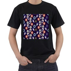 Cute Birds Seamless Pattern Men s T Shirt (black) (two Sided)