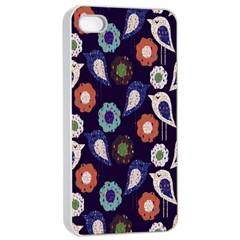 Cute Birds Seamless Pattern Apple Iphone 4/4s Seamless Case (white) by Nexatart