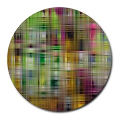 Woven Colorful Abstract Background Of A Tight Weave Pattern Round Mousepads by Nexatart
