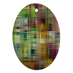 Woven Colorful Abstract Background Of A Tight Weave Pattern Ornament (oval) by Nexatart