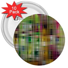 Woven Colorful Abstract Background Of A Tight Weave Pattern 3  Buttons (10 Pack)