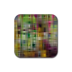 Woven Colorful Abstract Background Of A Tight Weave Pattern Rubber Square Coaster (4 Pack)  by Nexatart