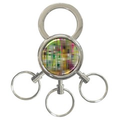 Woven Colorful Abstract Background Of A Tight Weave Pattern 3 Ring Key Chains