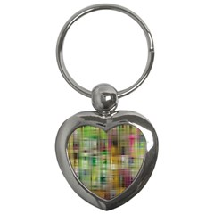 Woven Colorful Abstract Background Of A Tight Weave Pattern Key Chains (heart)
