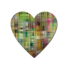Woven Colorful Abstract Background Of A Tight Weave Pattern Heart Magnet by Nexatart