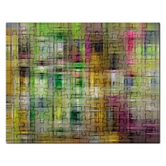 Woven Colorful Abstract Background Of A Tight Weave Pattern Rectangular Jigsaw Puzzl