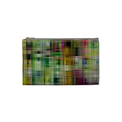 Woven Colorful Abstract Background Of A Tight Weave Pattern Cosmetic Bag (small)