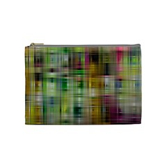 Woven Colorful Abstract Background Of A Tight Weave Pattern Cosmetic Bag (medium)