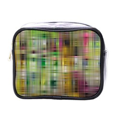 Woven Colorful Abstract Background Of A Tight Weave Pattern Mini Toiletries Bags by Nexatart