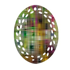 Woven Colorful Abstract Background Of A Tight Weave Pattern Oval Filigree Ornament (two Sides) by Nexatart
