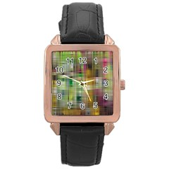 Woven Colorful Abstract Background Of A Tight Weave Pattern Rose Gold Leather Watch