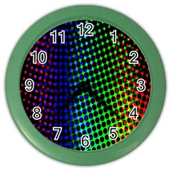 Digitally Created Halftone Dots Abstract Color Wall Clocks by Nexatart