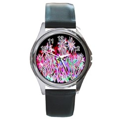 Fractal Fireworks Display Pattern Round Metal Watch