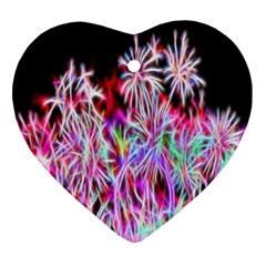 Fractal Fireworks Display Pattern Ornament (heart) by Nexatart