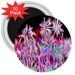 Fractal Fireworks Display Pattern 3  Magnets (10 Pack)