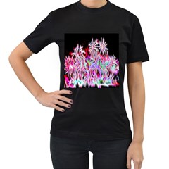 Fractal Fireworks Display Pattern Women s T Shirt (black) (two Sided)
