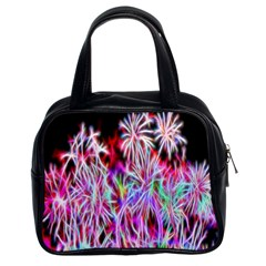 Fractal Fireworks Display Pattern Classic Handbags (2 Sides)