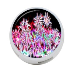 Fractal Fireworks Display Pattern 4 Port Usb Hub (one Side) by Nexatart