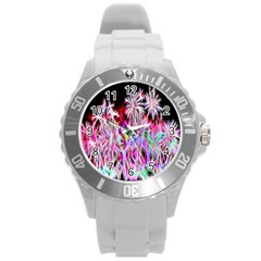 Fractal Fireworks Display Pattern Round Plastic Sport Watch (l) by Nexatart