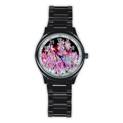 Fractal Fireworks Display Pattern Stainless Steel Round Watch