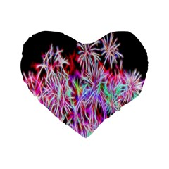Fractal Fireworks Display Pattern Standard 16  Premium Flano Heart Shape Cushions by Nexatart