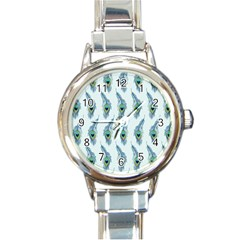 Background Of Beautiful Peacock Feathers Round Italian Charm Watch by Nexatart