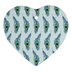 Background Of Beautiful Peacock Feathers Ornament (Heart)