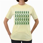 Background Of Beautiful Peacock Feathers Women s Yellow T-Shirt