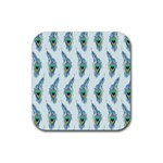 Background Of Beautiful Peacock Feathers Rubber Square Coaster (4 pack)