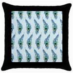 Background Of Beautiful Peacock Feathers Throw Pillow Case (Black)
