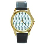 Background Of Beautiful Peacock Feathers Round Gold Metal Watch