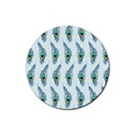 Background Of Beautiful Peacock Feathers Rubber Round Coaster (4 pack)