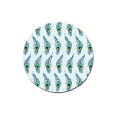 Background Of Beautiful Peacock Feathers Magnet 3  (round) by Nexatart