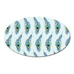 Background Of Beautiful Peacock Feathers Oval Magnet