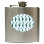 Background Of Beautiful Peacock Feathers Hip Flask (6 oz)