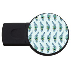 Background Of Beautiful Peacock Feathers Usb Flash Drive Round (2 Gb)