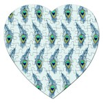 Background Of Beautiful Peacock Feathers Jigsaw Puzzle (Heart)