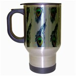 Background Of Beautiful Peacock Feathers Travel Mug (Silver Gray)