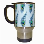 Background Of Beautiful Peacock Feathers Travel Mugs (White)
