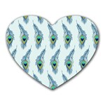 Background Of Beautiful Peacock Feathers Heart Mousepads