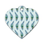 Background Of Beautiful Peacock Feathers Dog Tag Heart (One Side)