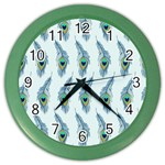 Background Of Beautiful Peacock Feathers Color Wall Clocks
