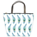 Background Of Beautiful Peacock Feathers Bucket Bags