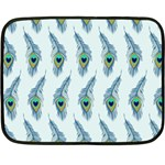Background Of Beautiful Peacock Feathers Double Sided Fleece Blanket (Mini)