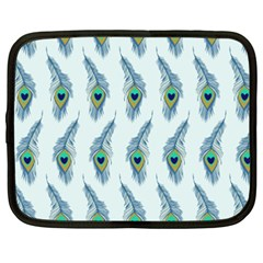 Background Of Beautiful Peacock Feathers Netbook Case (xxl)  by Nexatart