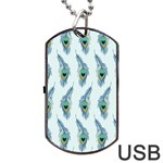 Background Of Beautiful Peacock Feathers Dog Tag USB Flash (One Side)