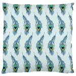 Background Of Beautiful Peacock Feathers Large Cushion Case (One Side)