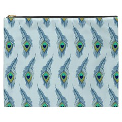 Background Of Beautiful Peacock Feathers Cosmetic Bag (xxxl)  by Nexatart