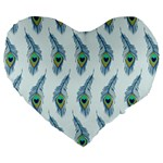 Background Of Beautiful Peacock Feathers Large 19  Premium Heart Shape Cushions